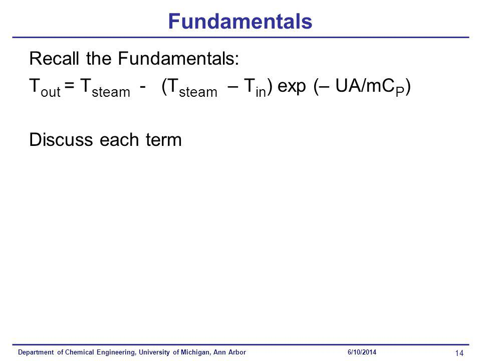 Department of Chemical Engineering, University of Michigan, Ann Arbor 14 6/10/2014 Fundamentals Recall the Fundamentals: T out = T steam - (T steam – T in ) exp (– UA/mC P ) Discuss each term