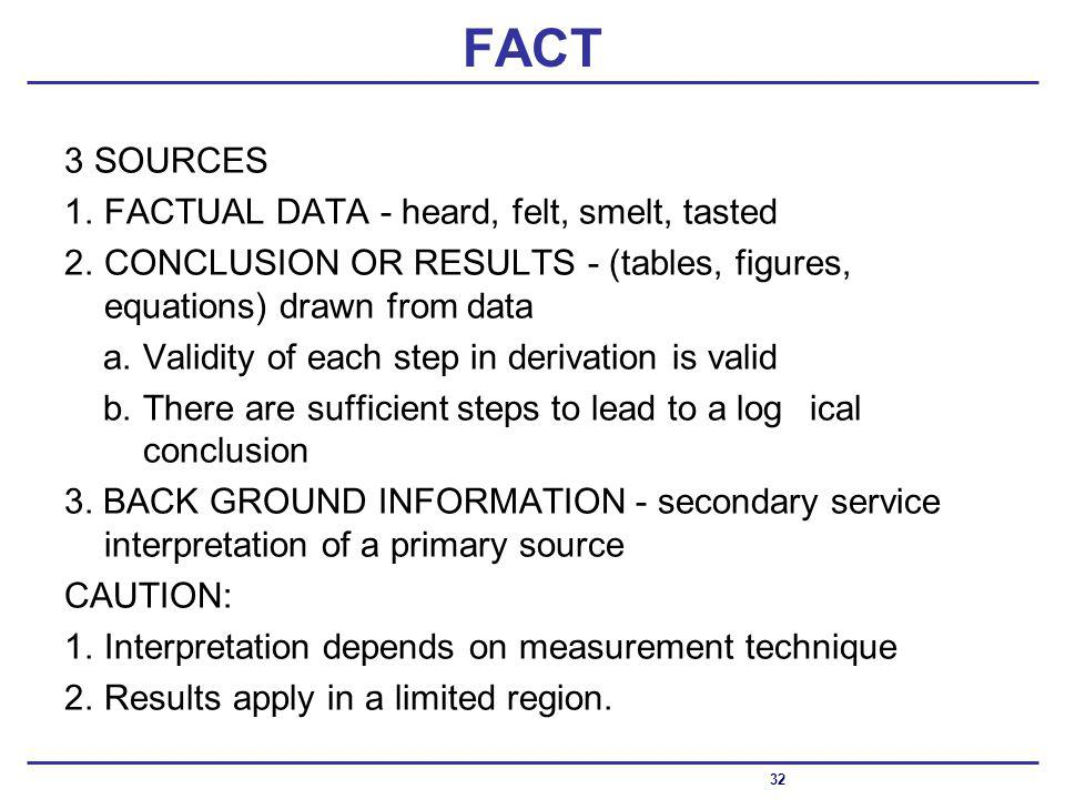FACT 3 SOURCES 1.FACTUAL DATA - heard, felt, smelt, tasted 2.CONCLUSION OR RESULTS - (tables, figures, equations) drawn from data a.Validity of each step in derivation is valid b.There are sufficient steps to lead to a logical conclusion 3.