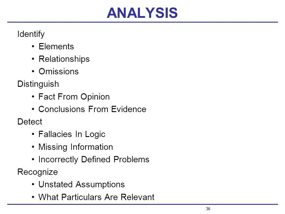 ANALYSIS Identify Elements Relationships Omissions Distinguish Fact From Opinion Conclusions From Evidence Detect Fallacies In Logic Missing Information Incorrectly Defined Problems Recognize Unstated Assumptions What Particulars Are Relevant 36