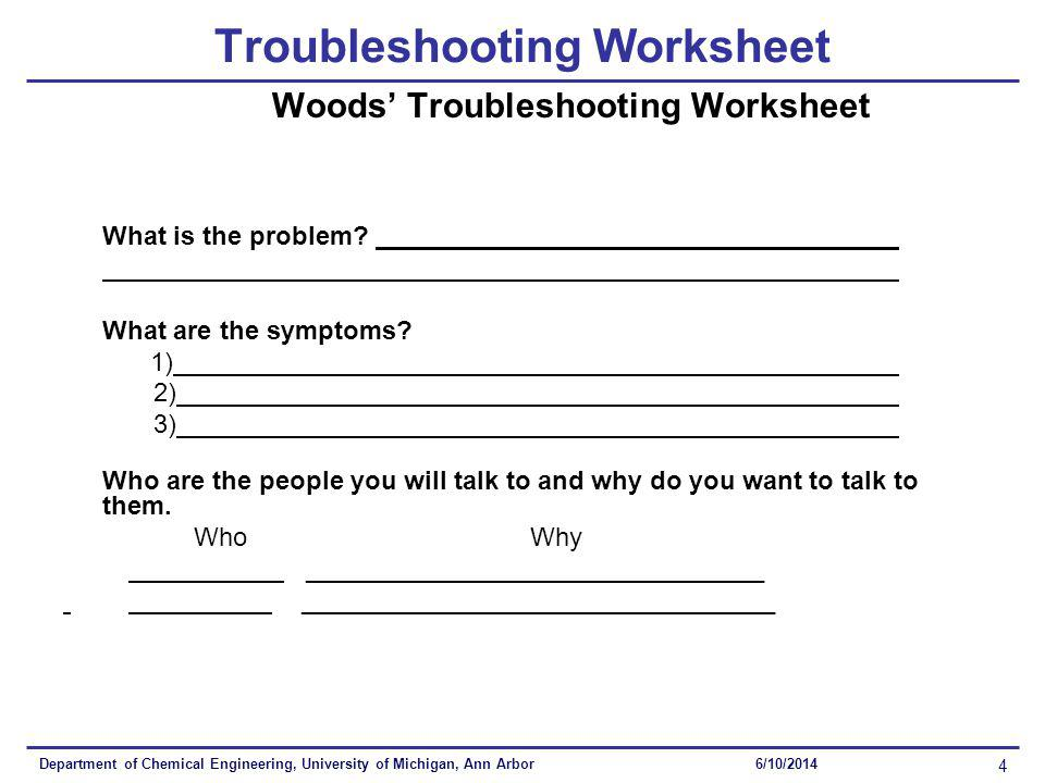Department of Chemical Engineering, University of Michigan, Ann Arbor 4 6/10/2014 Troubleshooting Worksheet Woods Troubleshooting Worksheet What is the problem.