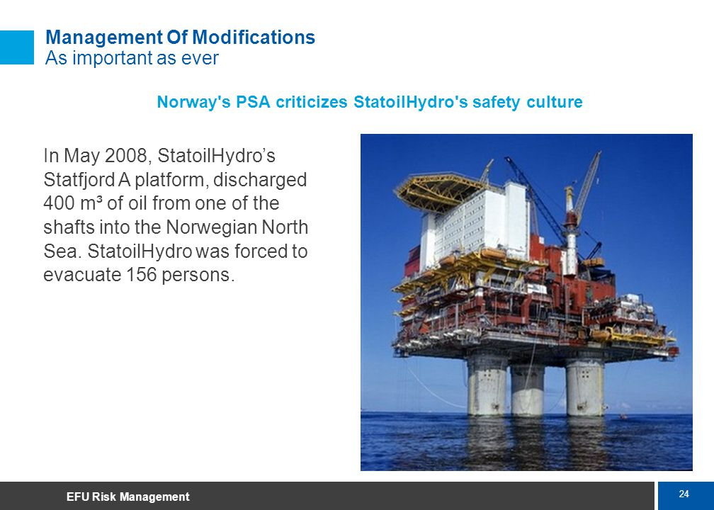 24 Marsh Management Of Modifications As important as ever Norway's PSA criticizes StatoilHydro's safety culture In May 2008, StatoilHydros Statfjord A