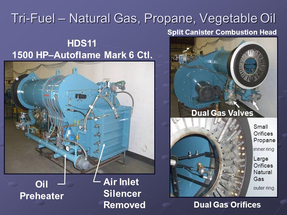 Tri-Fuel – Natural Gas, Propane, Vegetable Oil Dual Gas Orifices Air Inlet Silencer Removed HDS11 1500 HP–Autoflame Mark 6 Ctl.