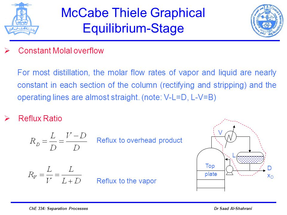 Dr Saad Al-ShahraniChE 334: Separation Processes Constant Molal overflow For most distillation, the molar flow rates of vapor and liquid are nearly co