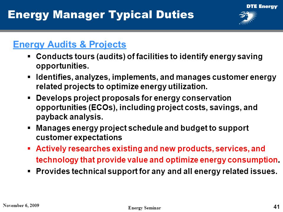 Energy Manager Typical Duties Energy Audits & Projects Conducts tours (audits) of facilities to identify energy saving opportunities.