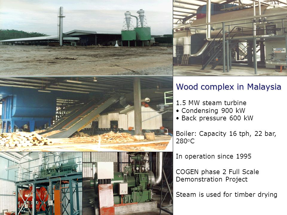 EC-ASEAN COGEN Programme Phase III Clean Efficient Biomass, Coal, Gas Cogeneration Wood complex in Malaysia 1.5 MW steam turbine Condensing 900 kW Bac