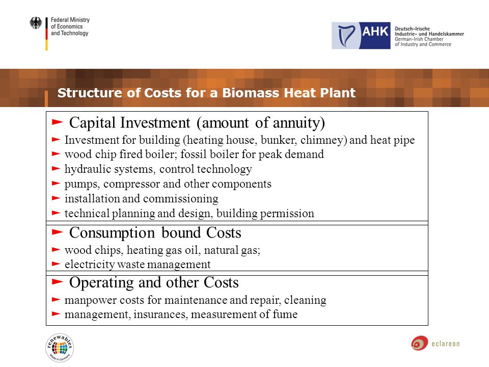Structure of Costs for a Biomass Heat Plant Capital Investment (amount of annuity) Investment for building (heating house, bunker, chimney) and heat pipe wood chip fired boiler; fossil boiler for peak demand hydraulic systems, control technology pumps, compressor and other components installation and commissioning technical planning and design, building permission Consumption bound Costs wood chips, heating gas oil, natural gas; electricity waste management Operating and other Costs manpower costs for maintenance and repair, cleaning management, insurances, measurement of fume