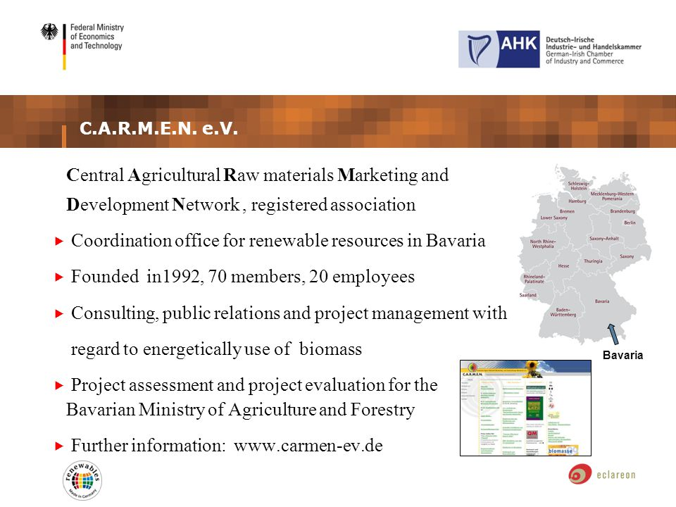 C.A.R.M.E.N. e.V. Central Agricultural Raw materials Marketing and Development Network, registered association Coordination office for renewable resou