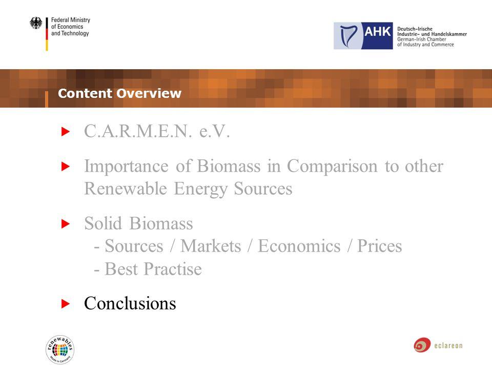 Content Overview C.A.R.M.E.N. e.V. Importance of Biomass in Comparison to other Renewable Energy Sources Solid Biomass - Sources / Markets / Economics
