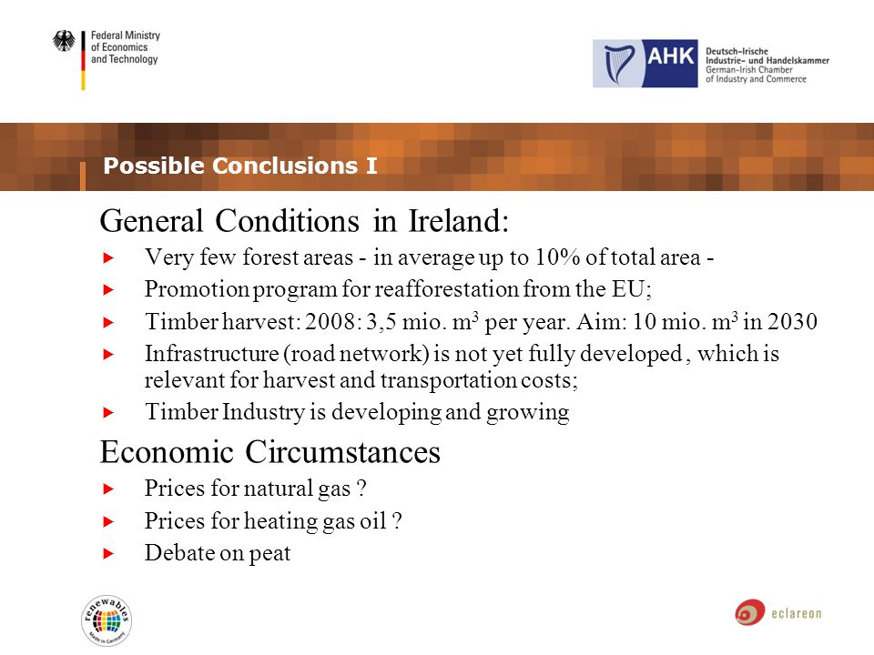 Possible Conclusions I General Conditions in Ireland: Very few forest areas - in average up to 10% of total area - Promotion program for reafforestation from the EU; Timber harvest: 2008: 3,5 mio.