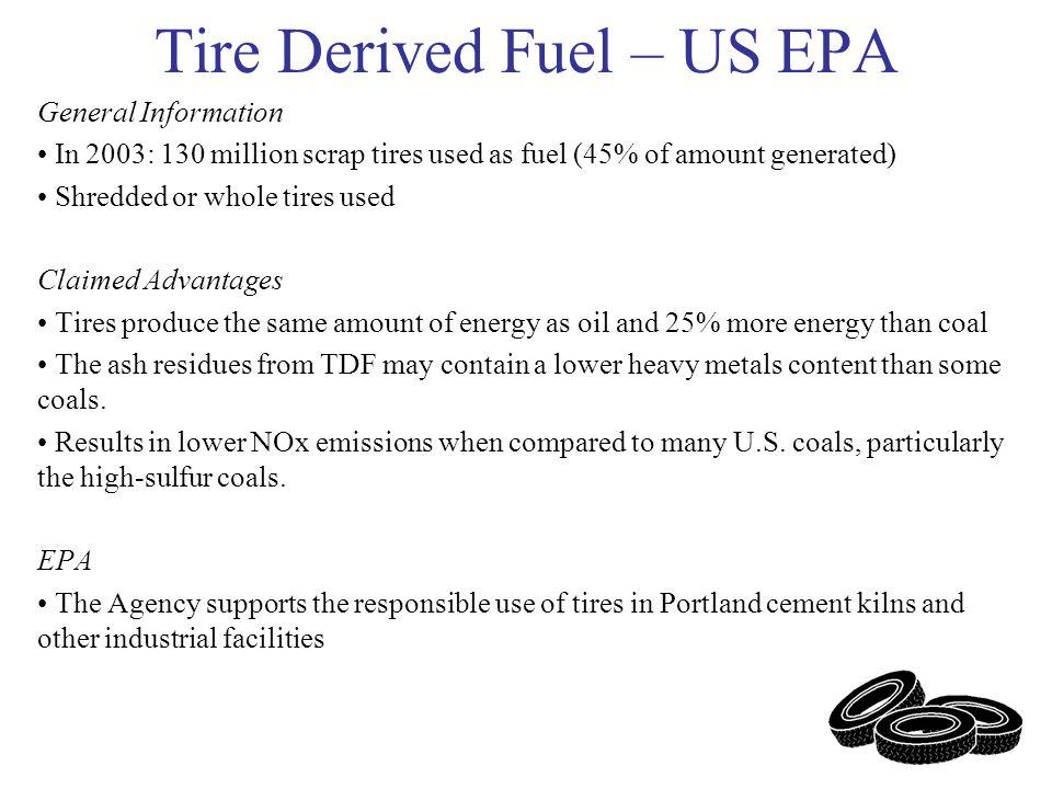 Tire Incineration in U.S. 52% of U.S. scrap tires are burned