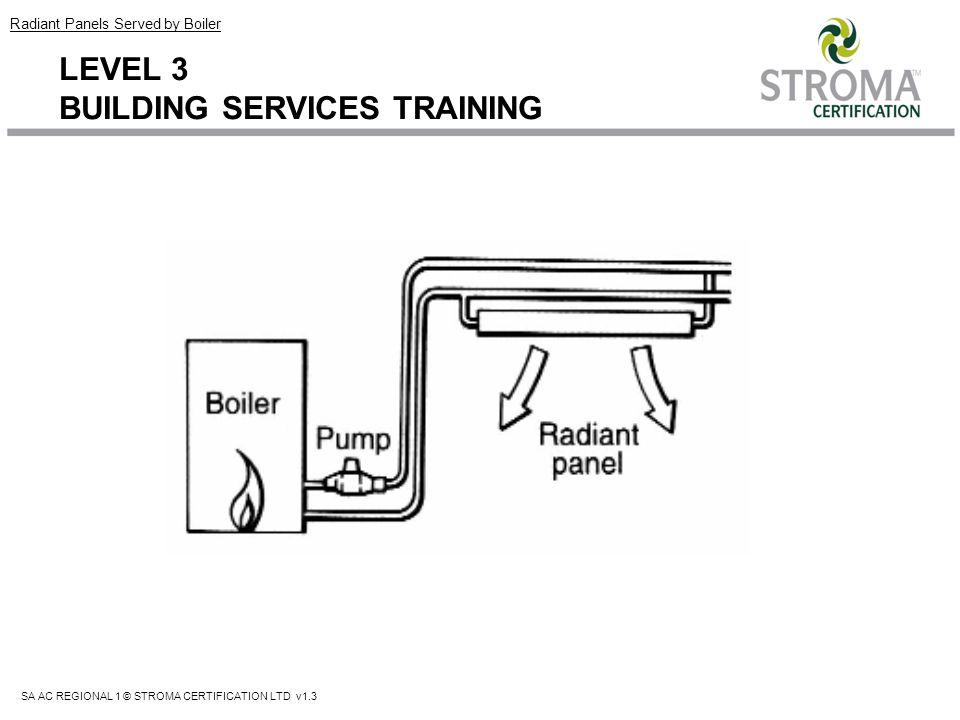 SA AC REGIONAL 1 © STROMA CERTIFICATION LTD v1.3 LEVEL 3 BUILDING SERVICES TRAINING Radiant Panels Served by Boiler