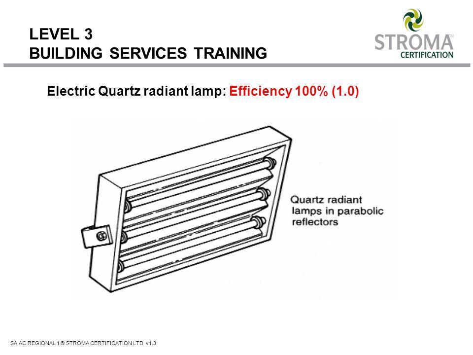 SA AC REGIONAL 1 © STROMA CERTIFICATION LTD v1.3 LEVEL 3 BUILDING SERVICES TRAINING Electric Quartz radiant lamp: Efficiency 100% (1.0)