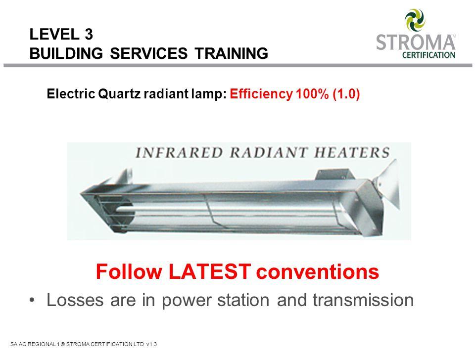 SA AC REGIONAL 1 © STROMA CERTIFICATION LTD v1.3 LEVEL 3 BUILDING SERVICES TRAINING Electric Quartz radiant lamp: Efficiency 100% (1.0) Follow LATEST