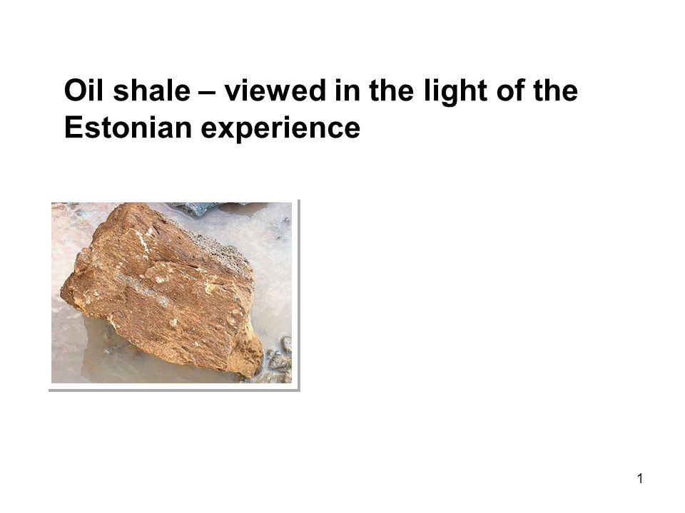 1 Oil shale – viewed in the light of the Estonian experience