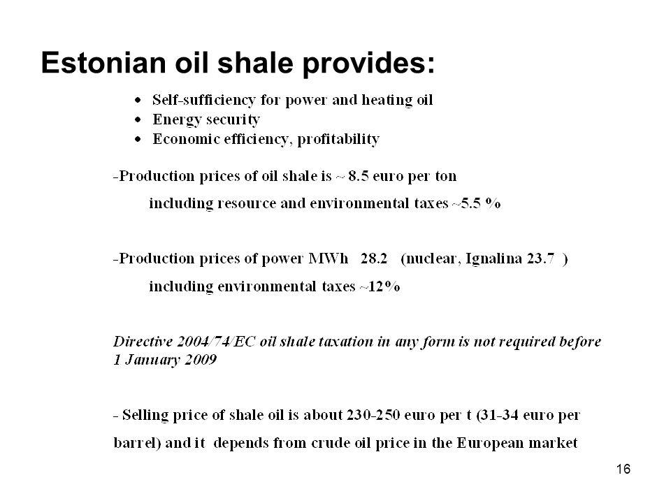16 Estonian oil shale provides: