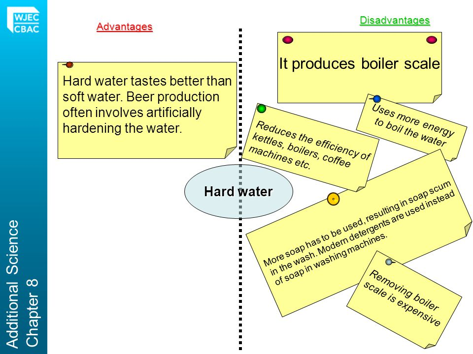Hard water Advantages Disadvantages It produces boiler scale Uses more energy to boil the water More soap has to be used, resulting in soap scum in the wash.