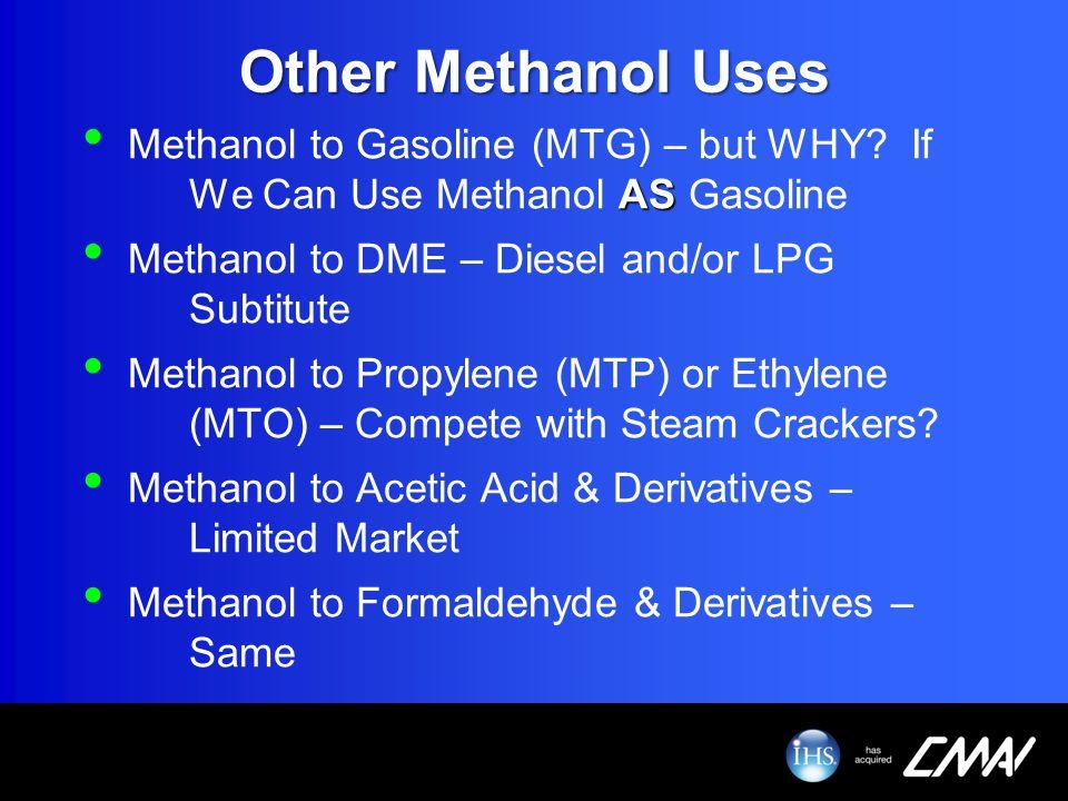 Other Methanol Uses AS Methanol to Gasoline (MTG) – but WHY? If We Can Use Methanol AS Gasoline Methanol to DME – Diesel and/or LPG Subtitute Methanol