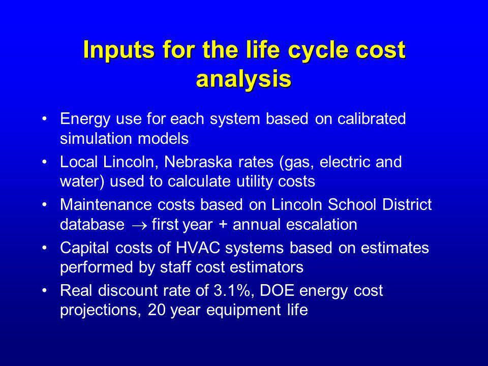 Inputs for the life cycle cost analysis Energy use for each system based on calibrated simulation models Local Lincoln, Nebraska rates (gas, electric