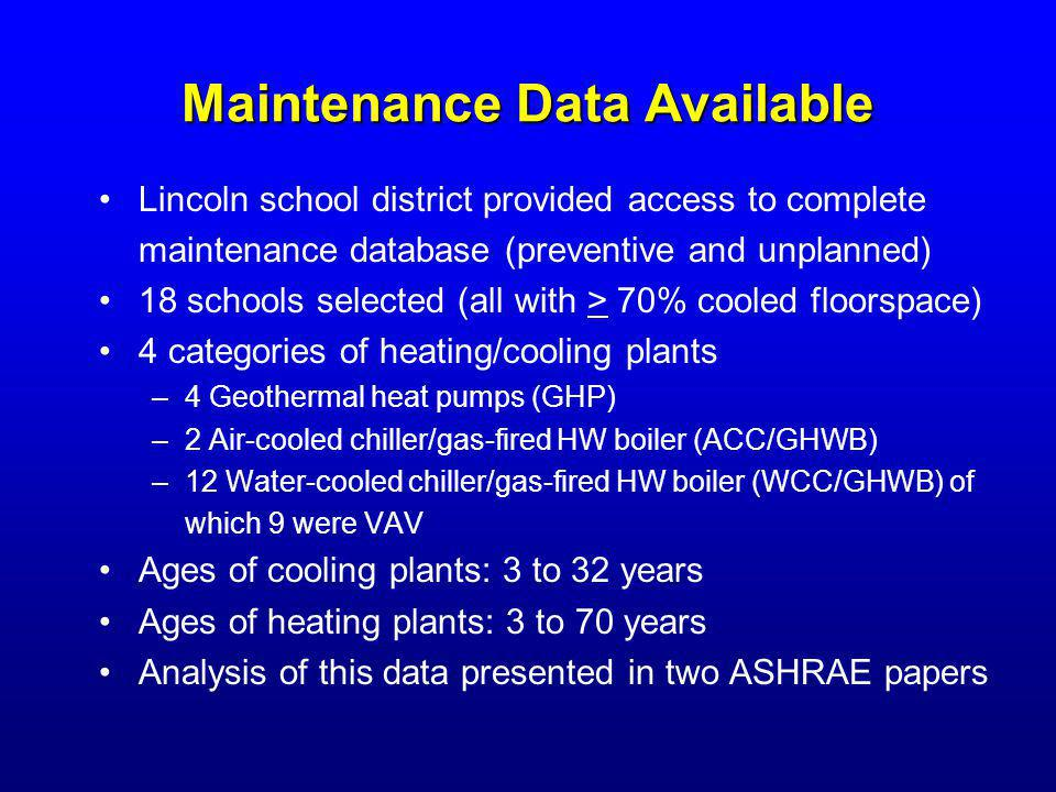 Maintenance Data Available Lincoln school district provided access to complete maintenance database (preventive and unplanned) 18 schools selected (al
