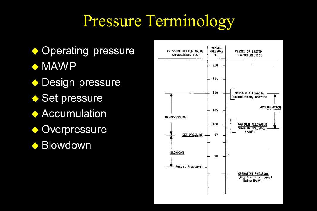 Pressure Terminology u Operating pressure u MAWP u Design pressure u Set pressure u Accumulation u Overpressure u Blowdown