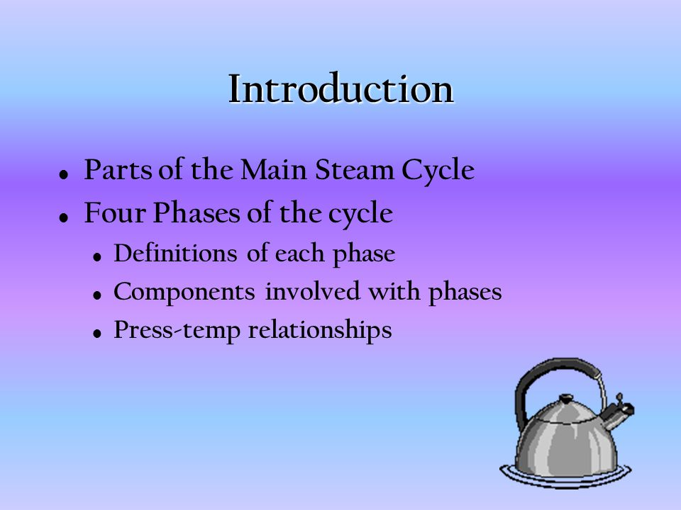 Introduction Parts of the Main Steam Cycle Four Phases of the cycle Definitions of each phase Components involved with phases Press-temp relationships