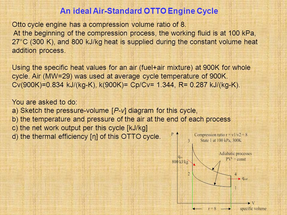 An ideal Air-Standard OTTO Engine Cycle Otto cycle engine has a compression volume ratio of 8. At the beginning of the compression process, the workin