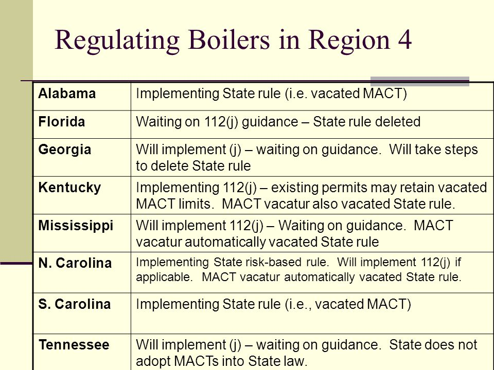 Regulating Boilers in Region 4 AlabamaImplementing State rule (i.e.