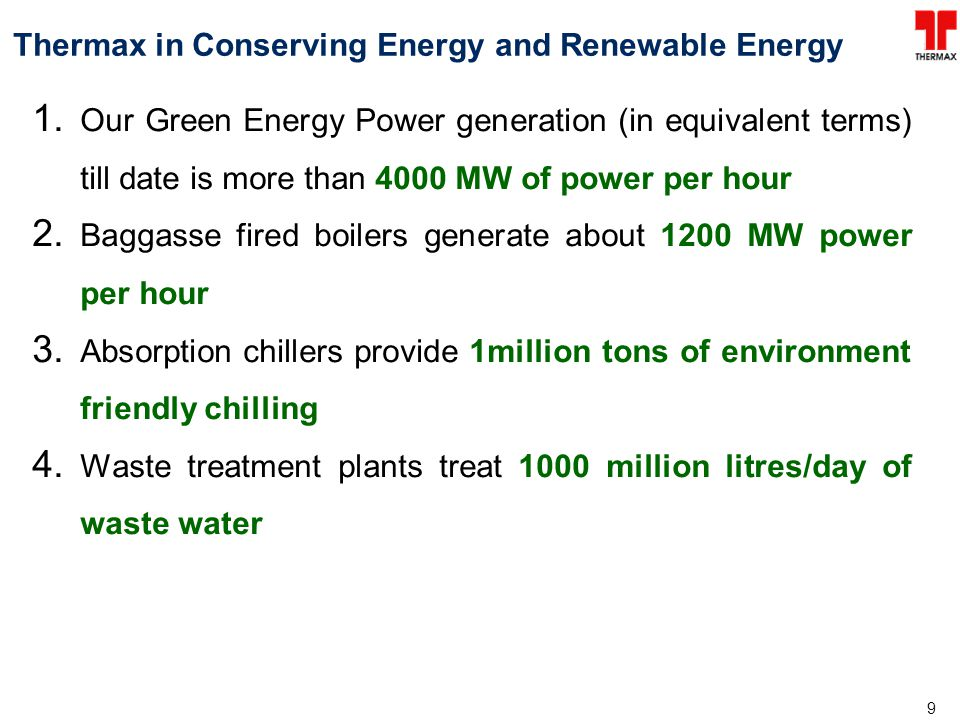 10 Thermax in Renewable Energy….(Contd) Our solar based air-conditioning experience: Over 28 installations