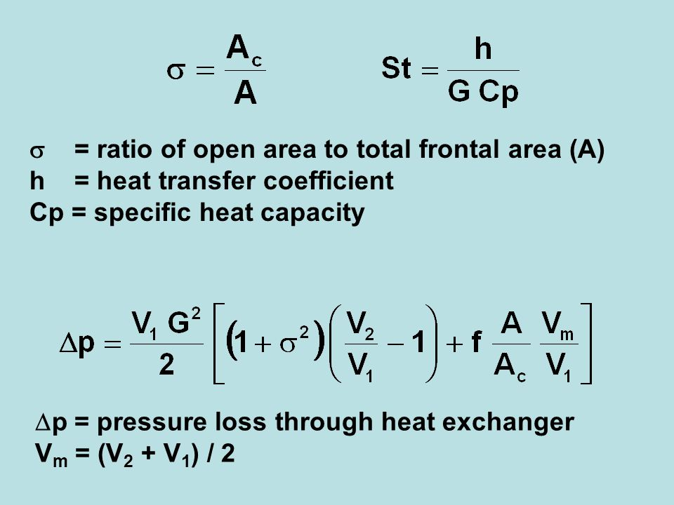 = ratio of open area to total frontal area (A) h = heat transfer coefficient Cp = specific heat capacity p = pressure loss through heat exchanger V m