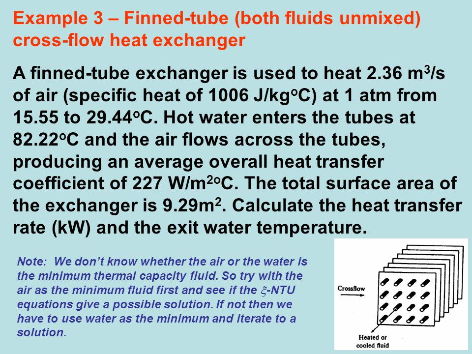 Example 3 – Finned-tube (both fluids unmixed) cross-flow heat exchanger A finned-tube exchanger is used to heat 2.36 m 3 /s of air (specific heat of 1