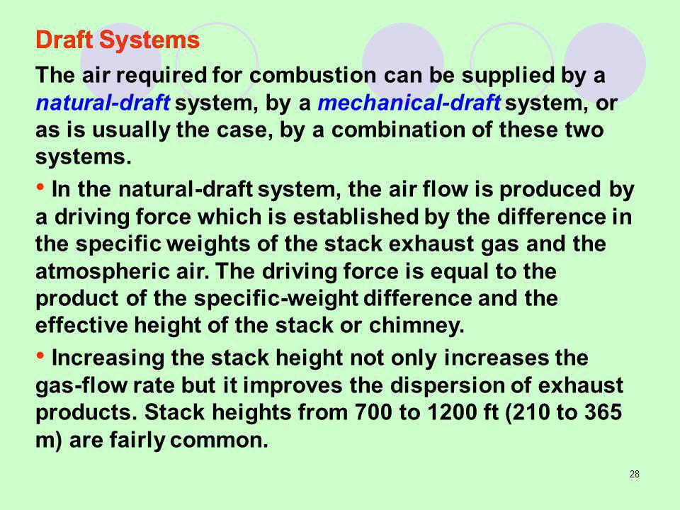 28 The air required for combustion can be supplied by a natural-draft system, by a mechanical-draft system, or as is usually the case, by a combination of these two systems.