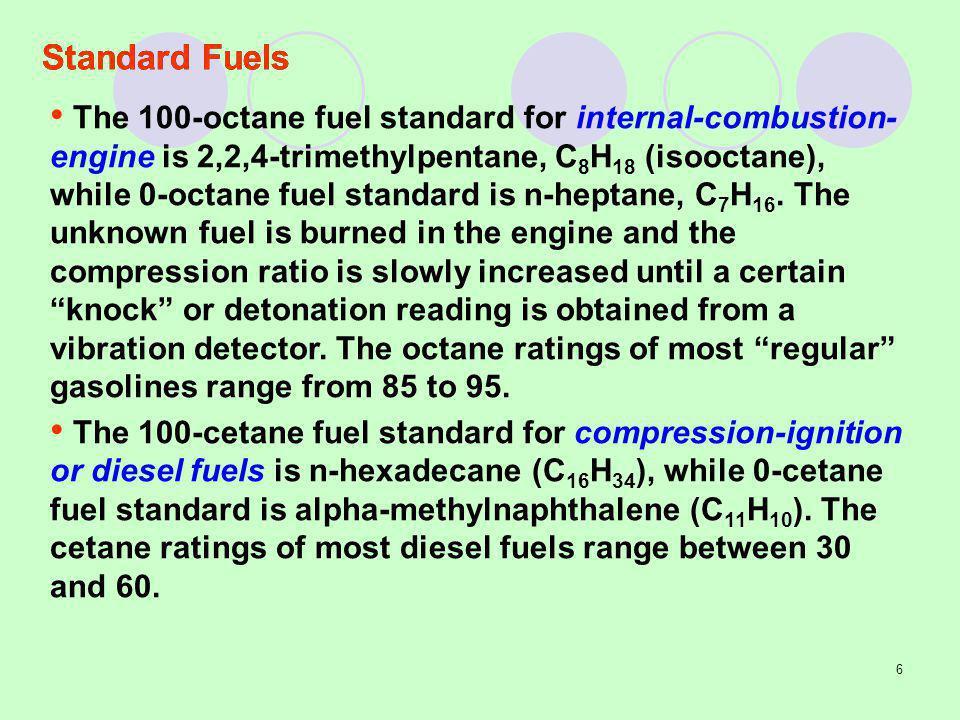 6 Standard Fuels The 100-octane fuel standard for internal-combustion- engine is 2,2,4-trimethylpentane, C 8 H 18 (isooctane), while 0-octane fuel sta