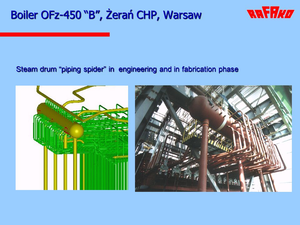 Boiler OFz-450 B, Żerań CHP, Warsaw Steam drum piping spider in engineering and in fabrication phase and in fabrication phase