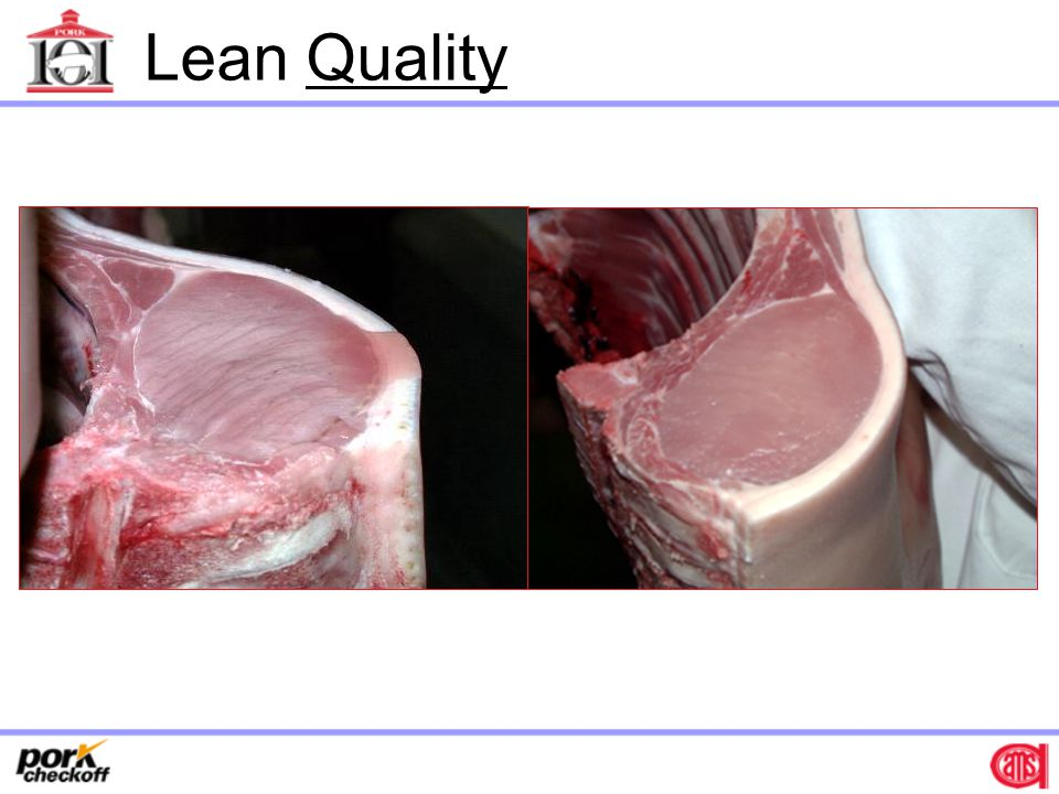 Ideal Pork Quality Color – Reddish-pink Drip Loss – < 0.5% Ultimate pH – 5.6 - 6.2 Marbling – Equivalent to 2.5 - 4% intramuscular fat