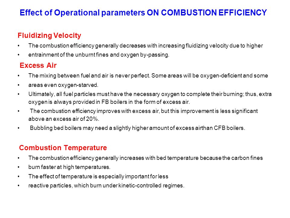 Effect of Operational parameters ON COMBUSTION EFFICIENCY Fluidizing Velocity The combustion efficiency generally decreases with increasing fluidizing