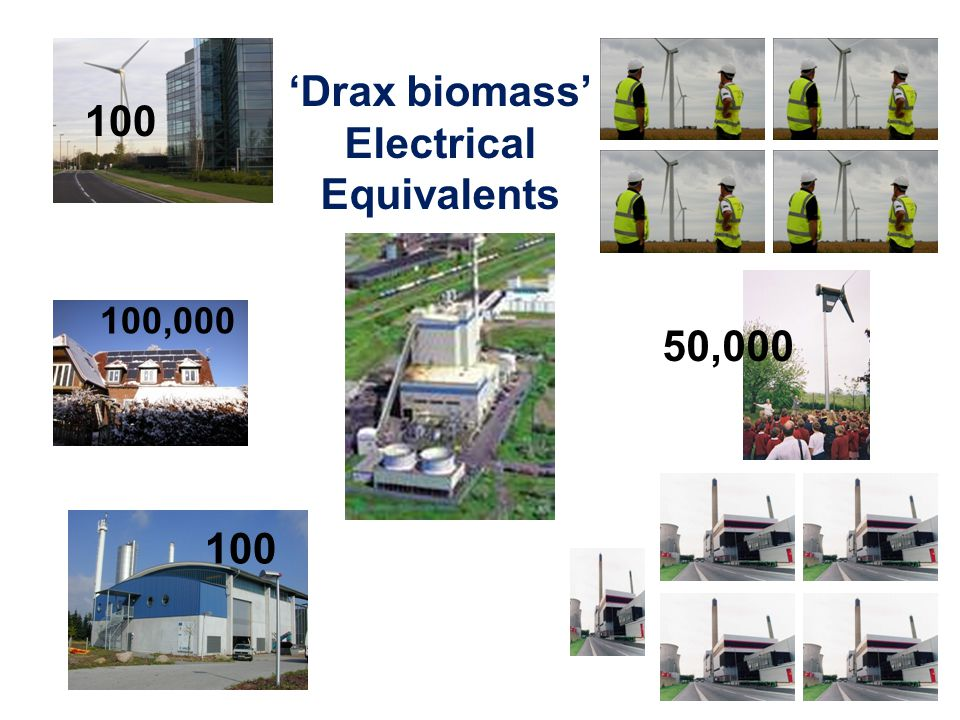 100 50,000 100 Drax biomass Electrical Equivalents 100,000