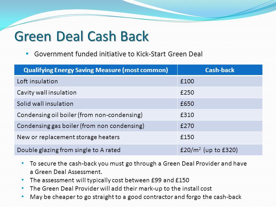 Green Deal Cash Back Qualifying Energy Saving Measure (most common)Cash-back Loft insulation£100 Cavity wall insulation£250 Solid wall insulation£650