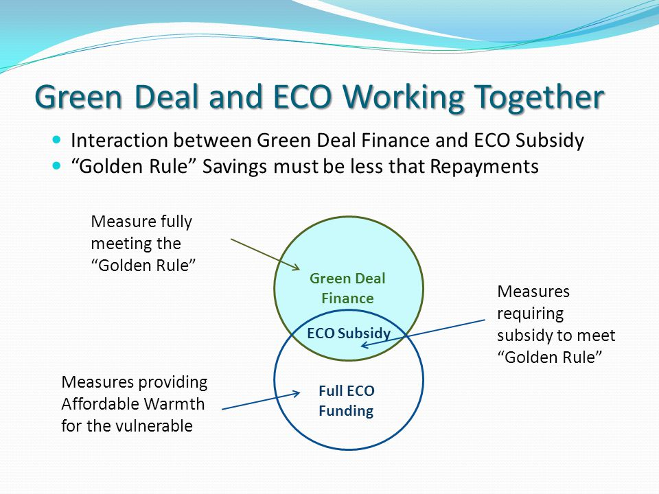 Green Deal and ECO Working Together Interaction between Green Deal Finance and ECO Subsidy Golden Rule Savings must be less that Repayments Green Deal