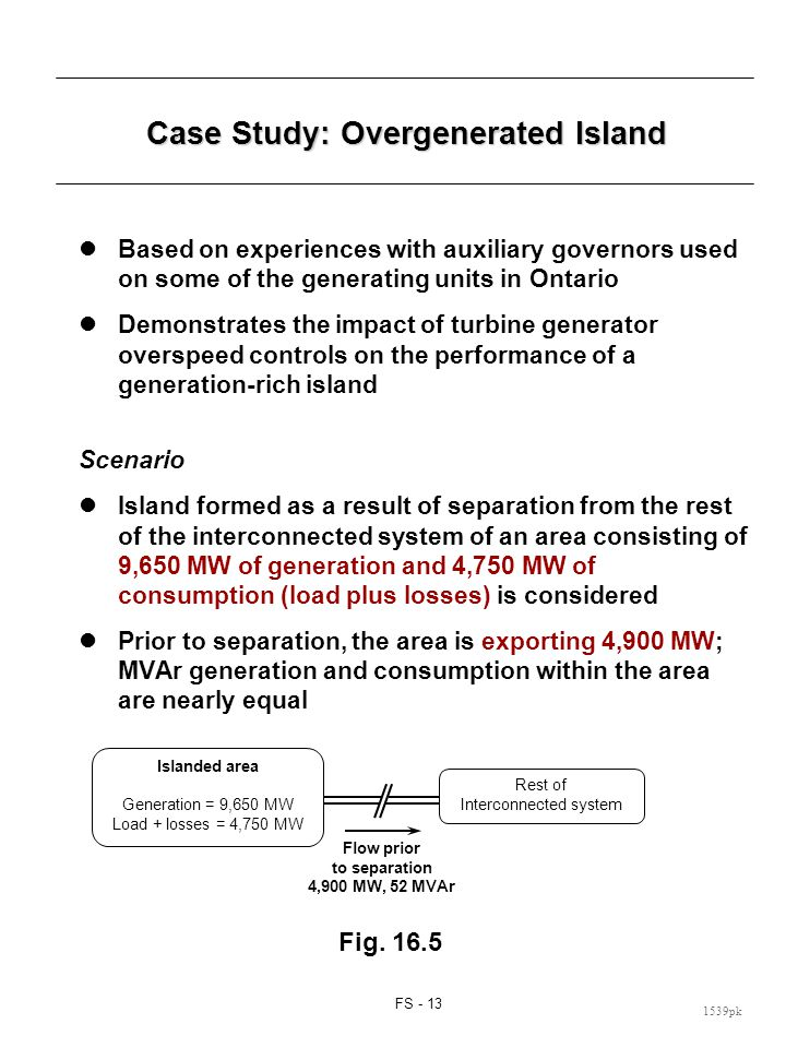 FS - 13 1539pk Case Study: Overgenerated Island Based on experiences with auxiliary governors used on some of the generating units in Ontario Demonstr