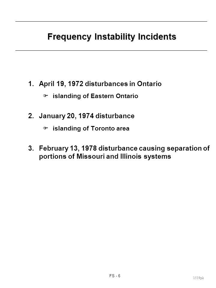 FS - 6 1539pk Frequency Instability Incidents 1.April 19, 1972 disturbances in Ontario islanding of Eastern Ontario 2.January 20, 1974 disturbance isl