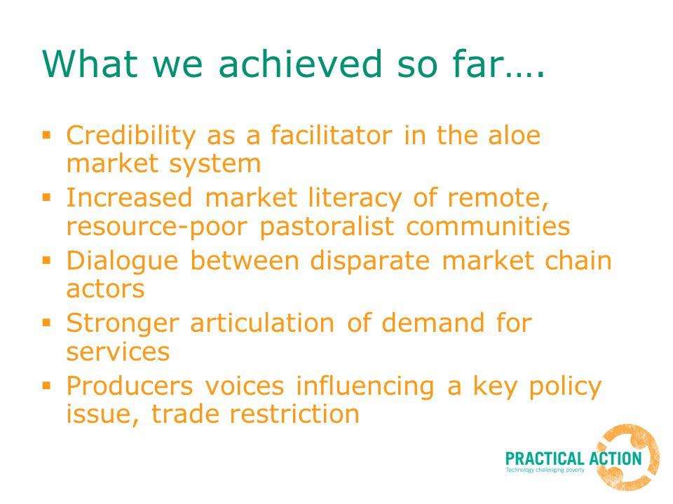 What we achieved so far….