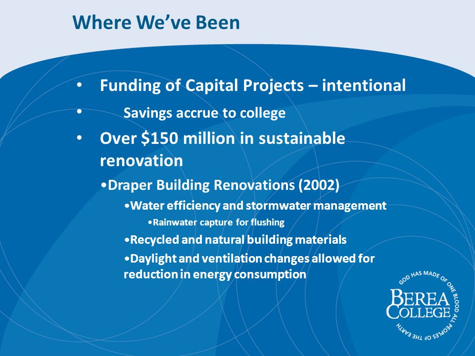 Where Weve Been Funding of Capital Projects – intentional Savings accrue to college Over $150 million in sustainable renovation Draper Building Renovations (2002) Water efficiency and stormwater management Rainwater capture for flushing Recycled and natural building materials Daylight and ventilation changes allowed for reduction in energy consumption