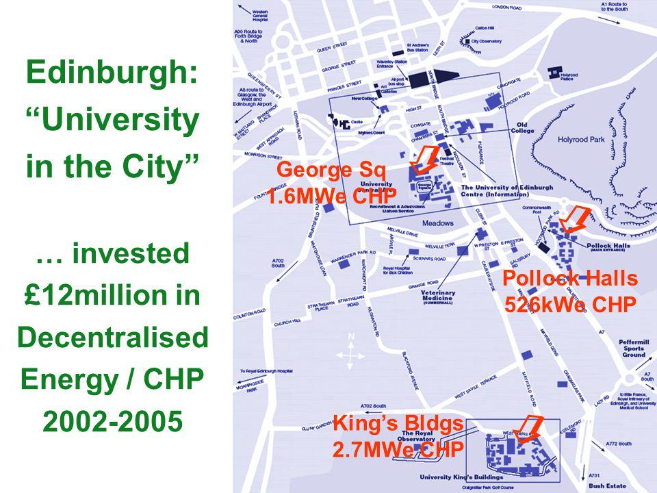 Edinburgh: University in the City … invested £12million in Decentralised Energy / CHP 2002-2005 Pollock Halls 526kWe CHP Kings Bldgs 2.7MWe CHP George
