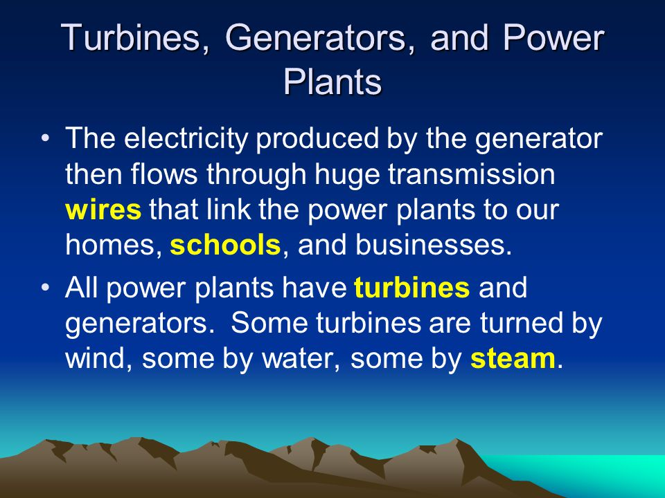 Turbines, Generators, and Power Plants The electricity produced by the generator then flows through huge transmission wires that link the power plants