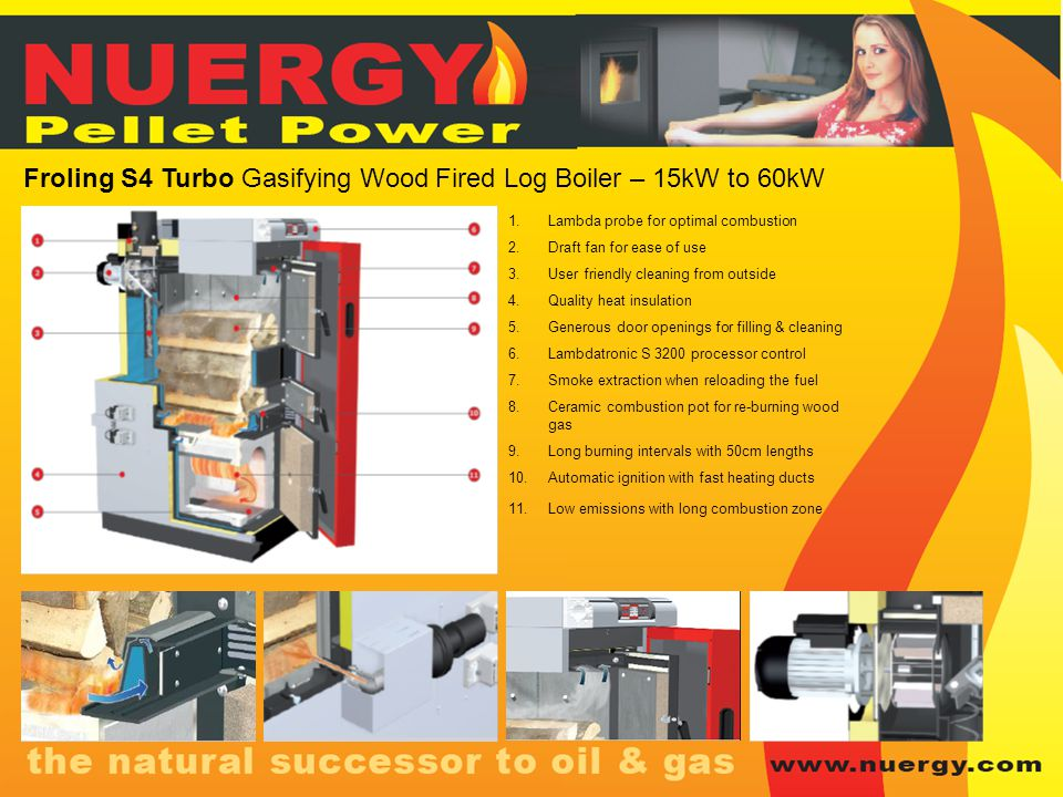 Froling S4 Turbo Gasifying Wood Fired Log Boiler – 15kW to 60kW 1.Lambda probe for optimal combustion 2.Draft fan for ease of use 3.User friendly clea