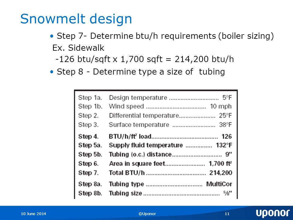 10 June 2014©Uponor11 Snowmelt design Step 7- Determine btu/h requirements (boiler sizing) Ex.