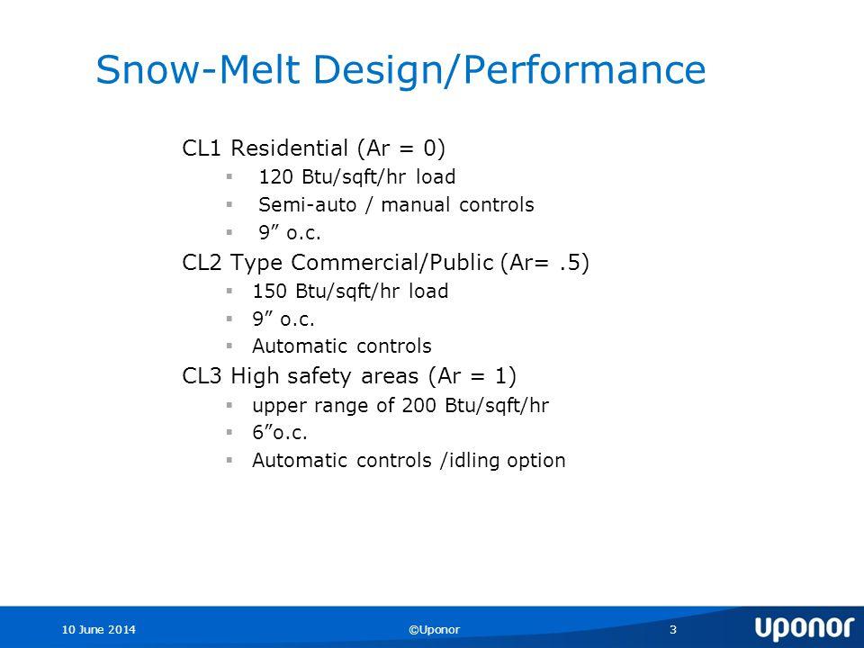 10 June 2014©Uponor3 Snow-Melt Design/Performance CL1 Residential (Ar = 0) 120 Btu/sqft/hr load Semi-auto / manual controls 9 o.c.