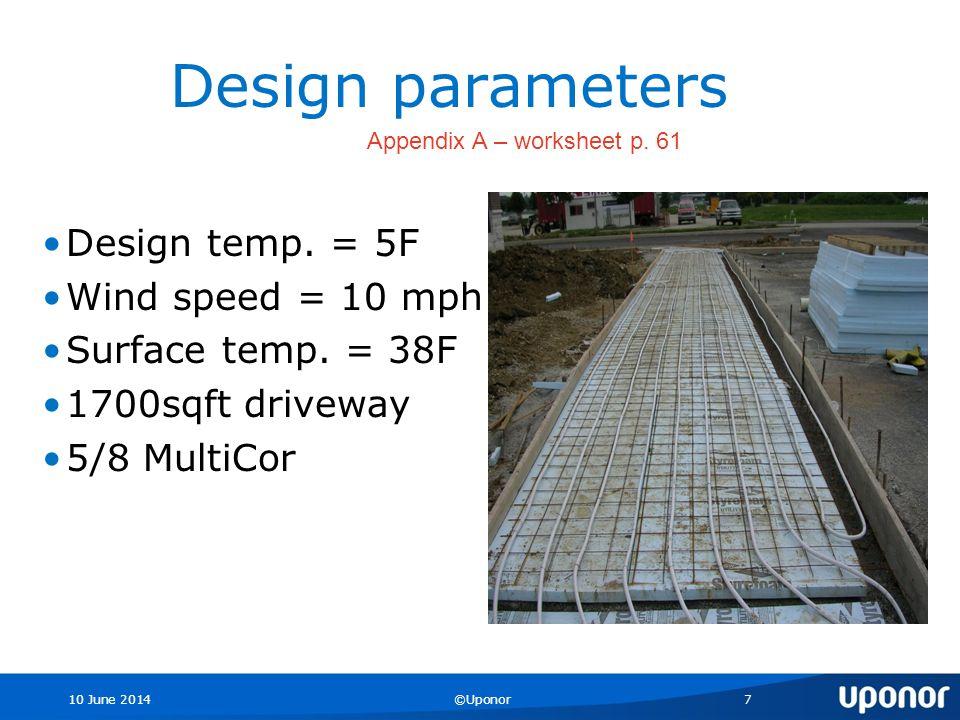 10 June 2014©Uponor7 Design parameters Design temp.