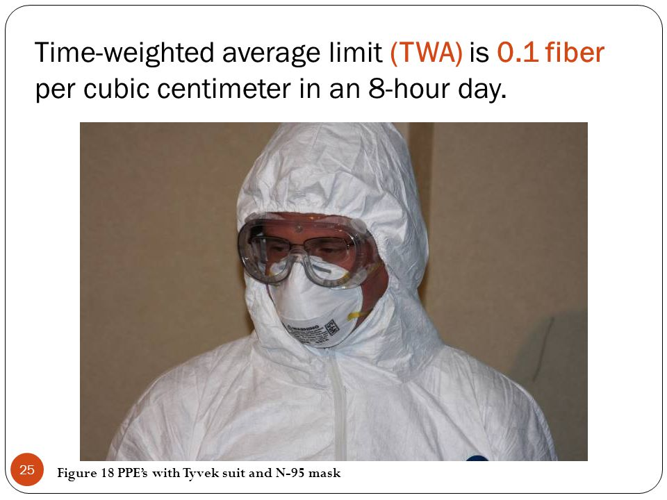 Time-weighted average limit (TWA) is 0.1 fiber per cubic centimeter in an 8-hour day. Figure 18 PPEs with Tyvek suit and N-95 mask 25