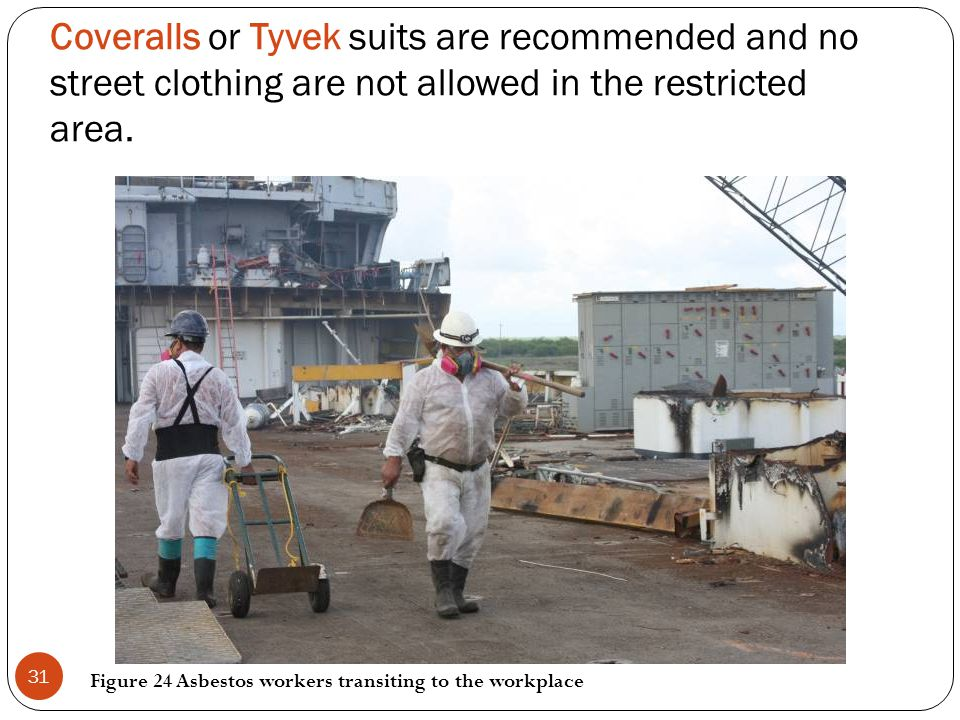 Coveralls or Tyvek suits are recommended and no street clothing are not allowed in the restricted area.